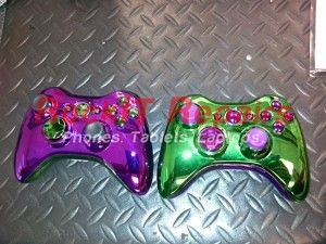 xbox 360 purple and green customized controller