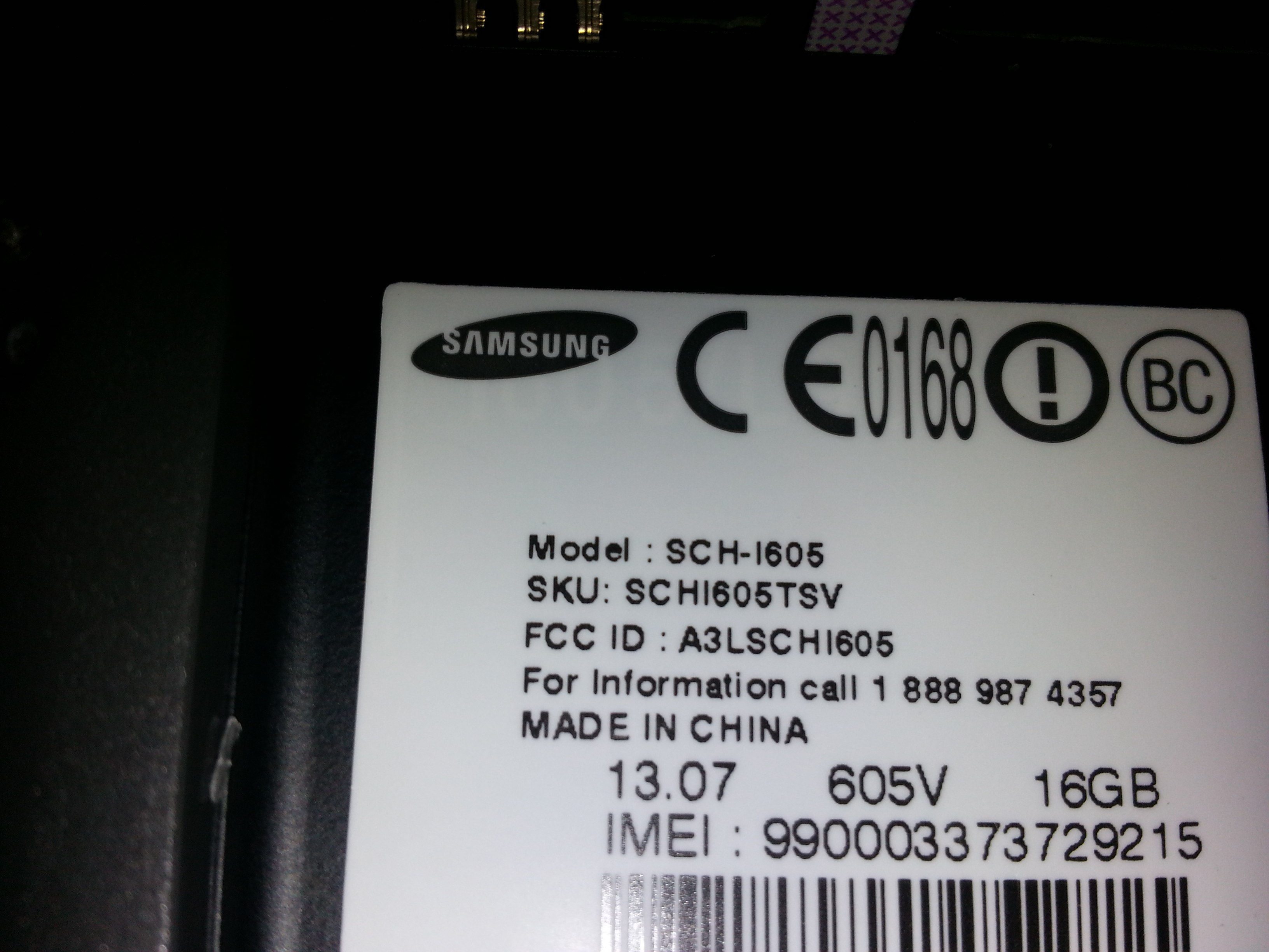 samsung note 2 model number on back of phone