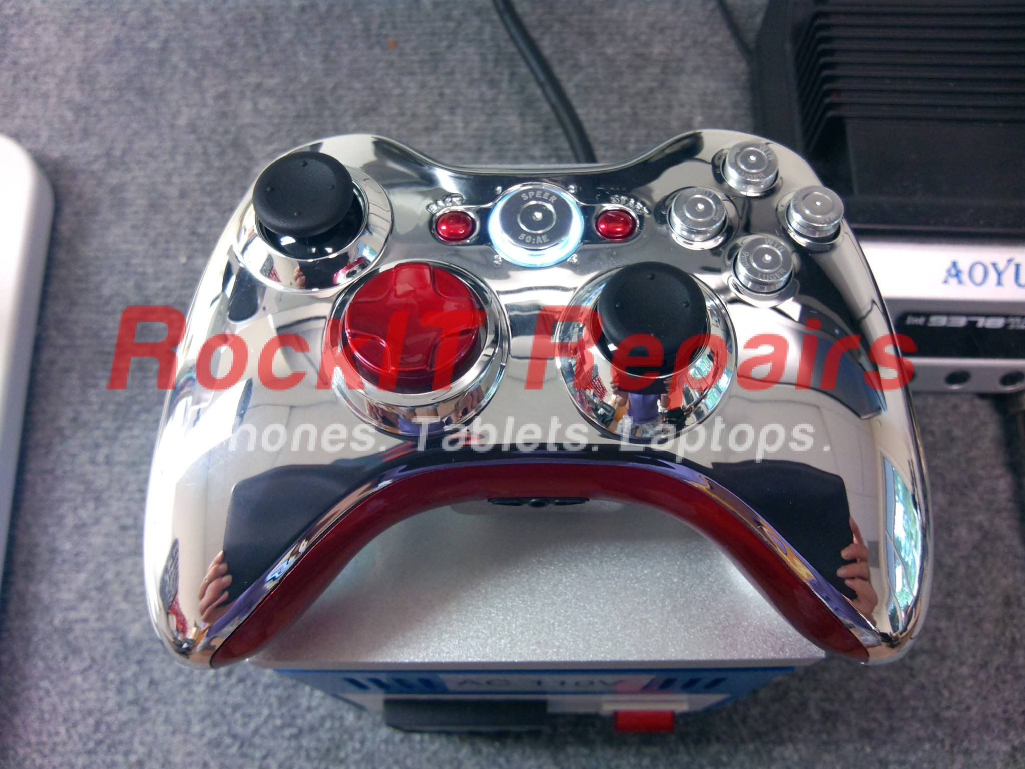 customized xbox 360 controller in chrome color