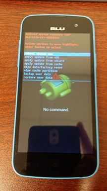 studio blue ready for a factory reset on the android boot menu